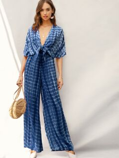 Plunging Neck Batwing Sleeve Tie Front Palazzo Jumpsuit