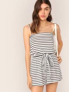 Striped Slip Romper With Belt