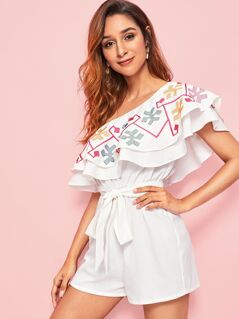 One Shoulder Embroidered Detail Ruffle Belted Romper