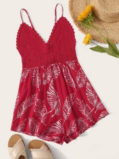 Jungle Leaf Print Tie Back Crochet Cami Romper