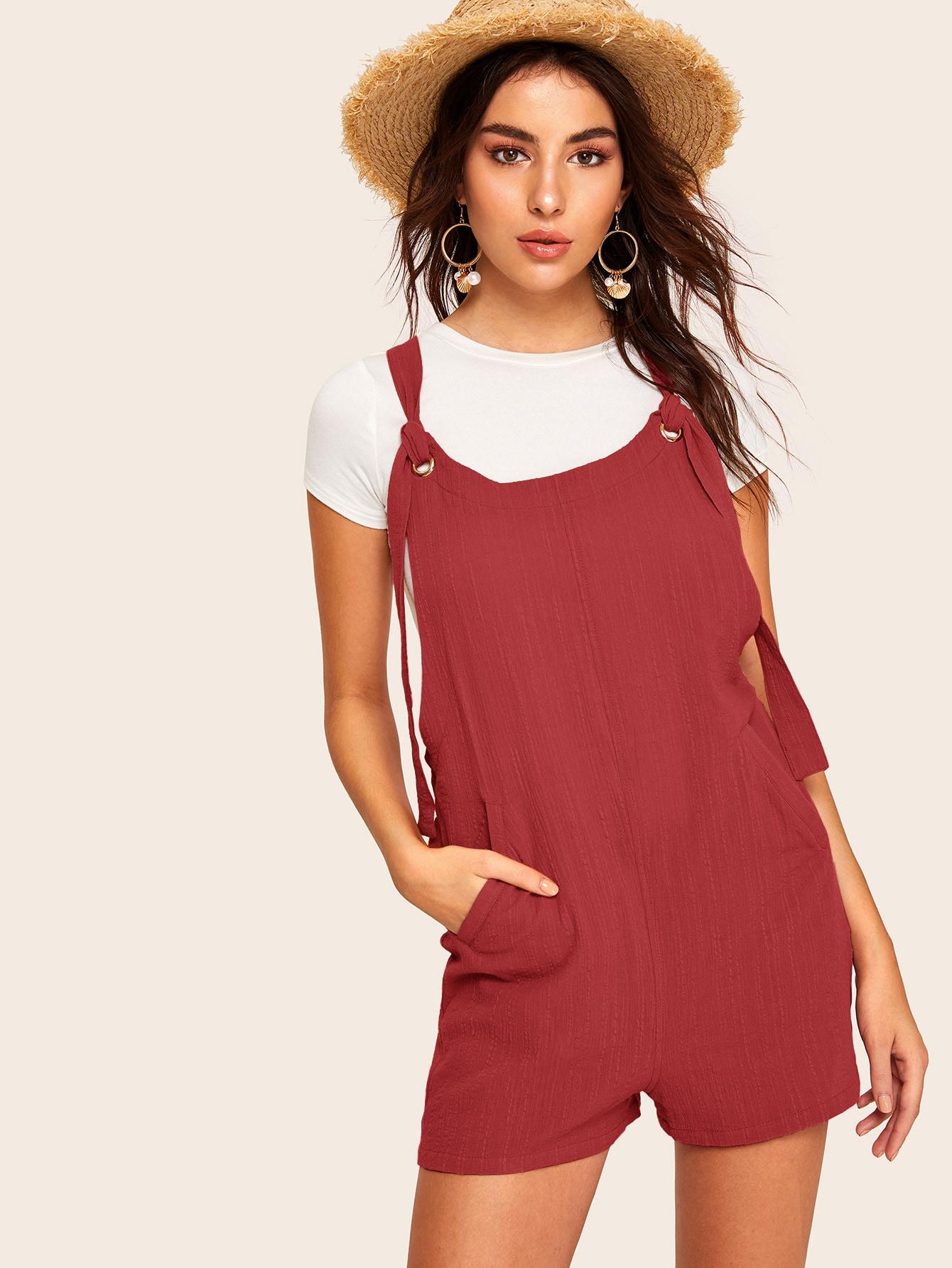 Фото - Комбинезон с карманом и узлом от SheIn бордового цвета