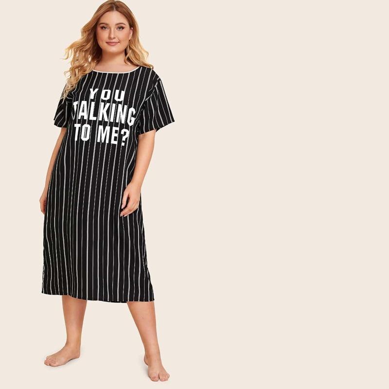 Plus Slogan Print Striped Night Dress, Black