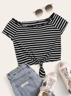 Lettuce Trim Rib-knit Striped Bardot Crop Top