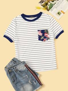 Floral Pocket Patched Striped Ringer Tee