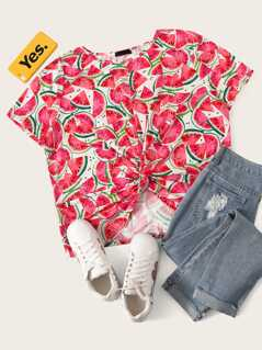 Plus Watermelon Print Twist Hem Top