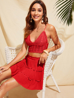 Tie Back Crochet Crop Cami Top & Layered Skirt Set