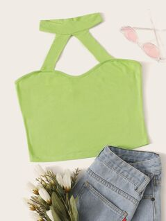 Neon Green Backless Crop Halter Top