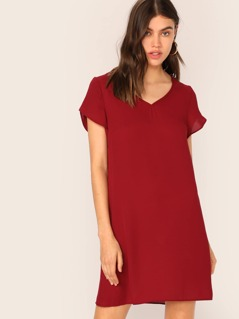 V-neck Petal Sleeve Tunic Dress