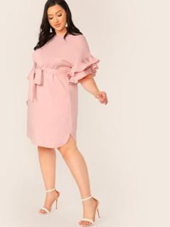 Plus Layered Pleated Ruffle Cuff Belted Dress