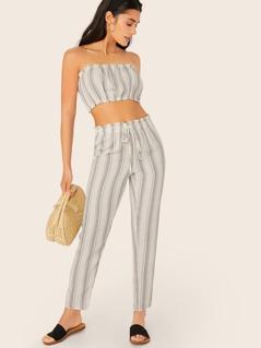 Stripe Crop Tube Top And Pants Set