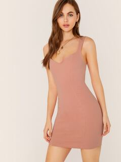 V-Neck Sleeveless Bodycon Mini Dress