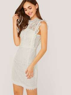 High Neck Sleeveless Lace Mini Dress