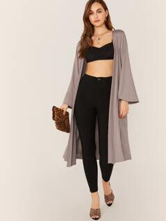 Open Front Slinky Knit Side Pocket Duster Cardigan
