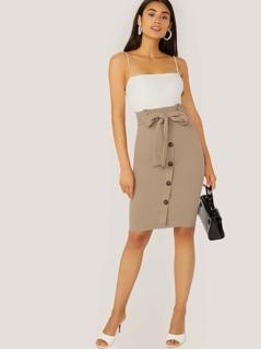 Paperbag Waist Sleeveless Two Tone Dress