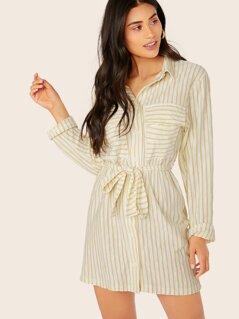 Button Up Waist Tie Long Sleeve Stripe Shirt Dress