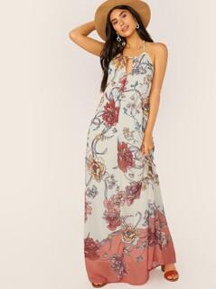 Keyhole Halter Neck Sleeveless Floral Maxi Dress