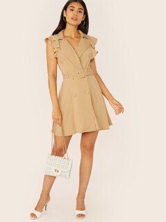 Double Breasted Belted Waist Ruffle Trim Vest Dress