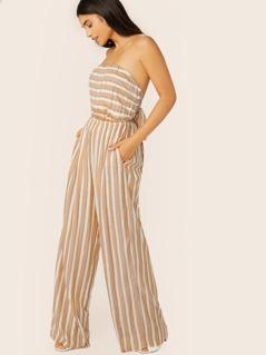 Strapless Back Tie Metallic Stripe Jumpsuit