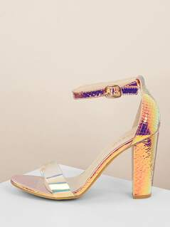 Ankle Strap Iridescent Snake Block Heel Sandals