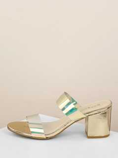 Iridescent Twin Band Metallic Chunky Heel Sandals