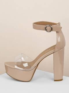 PVC Band Patent Ankle Strap Chunky Platform Heels