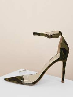 Clear Band Camo Ankle Strap Stiletto Heels