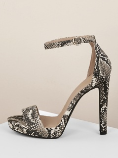 Snakeskin Ankle Strap Open Toe Stiletto Heels