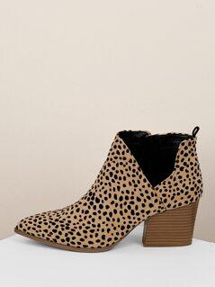 Pointed Toe Split Side Leopard Block Heel Booties