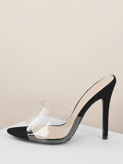 Open Toe Transparent Band Stiletto Heel Mules