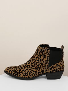 Almond Side Stretch Sides Low Heel Leopard Booties