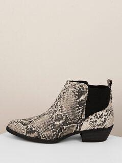 Side Goring Snakeskin Low Heel Ankle Boots
