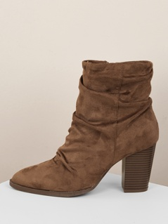 Gathered Shaft Pointy Toe Chunky Heel Ankle Boots