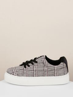Lace Front Houndstooth Flatform Trainer Sneakers