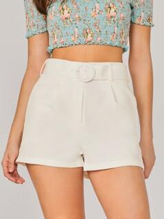 Side Pockets Belted Waist Culotte Shorts