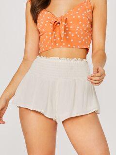 Smocked Waist Culotte Style Shorts