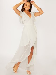 Ruffle Detail High Low V-Neck Wrap Dress