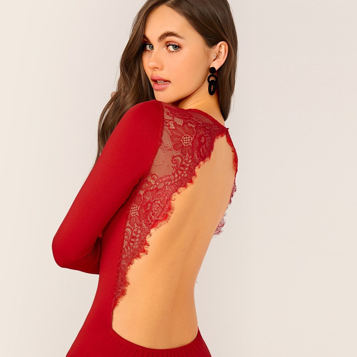 Rood Sexy Vlak Bodysuits Contract kant