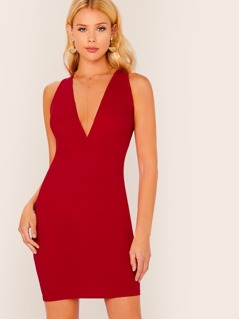 Plunging Sleeveless Bodycon Solid Dress