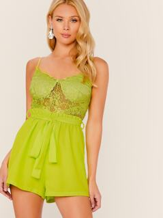 Neon Lime Lace Bustier Bodice Paperbag Waist Romper