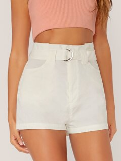 Paperbag Waist D-ring Belted Shorts