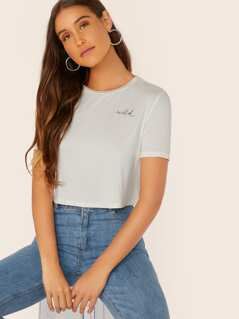 Letter Print Short Sleeve Top