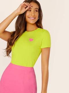 Neon Lime Heart Print Tee
