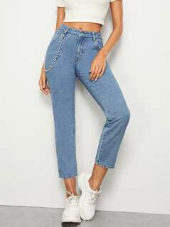 Chain Detail Crop Carrot Jeans