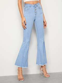Raw Hem Flare Leg Button Front Jeans
