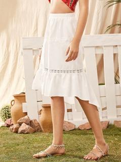 Lace Insert Asymmetrical Ruffle Hem Skirt