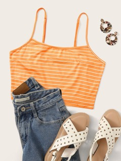 Striped Crop Cami Top