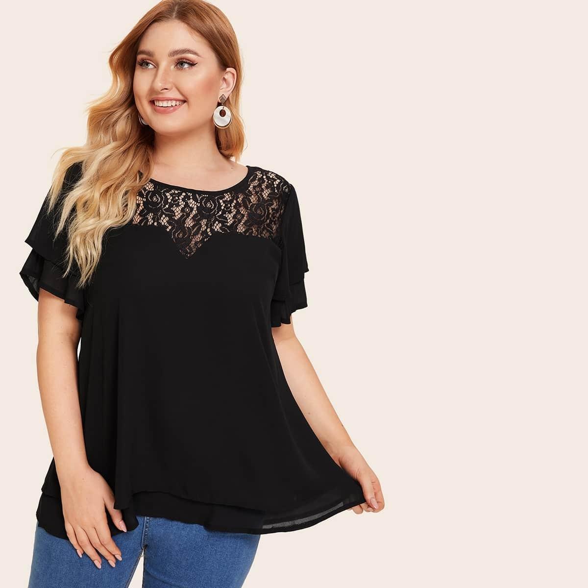 Однотонная блуза размера плюс с кружевом