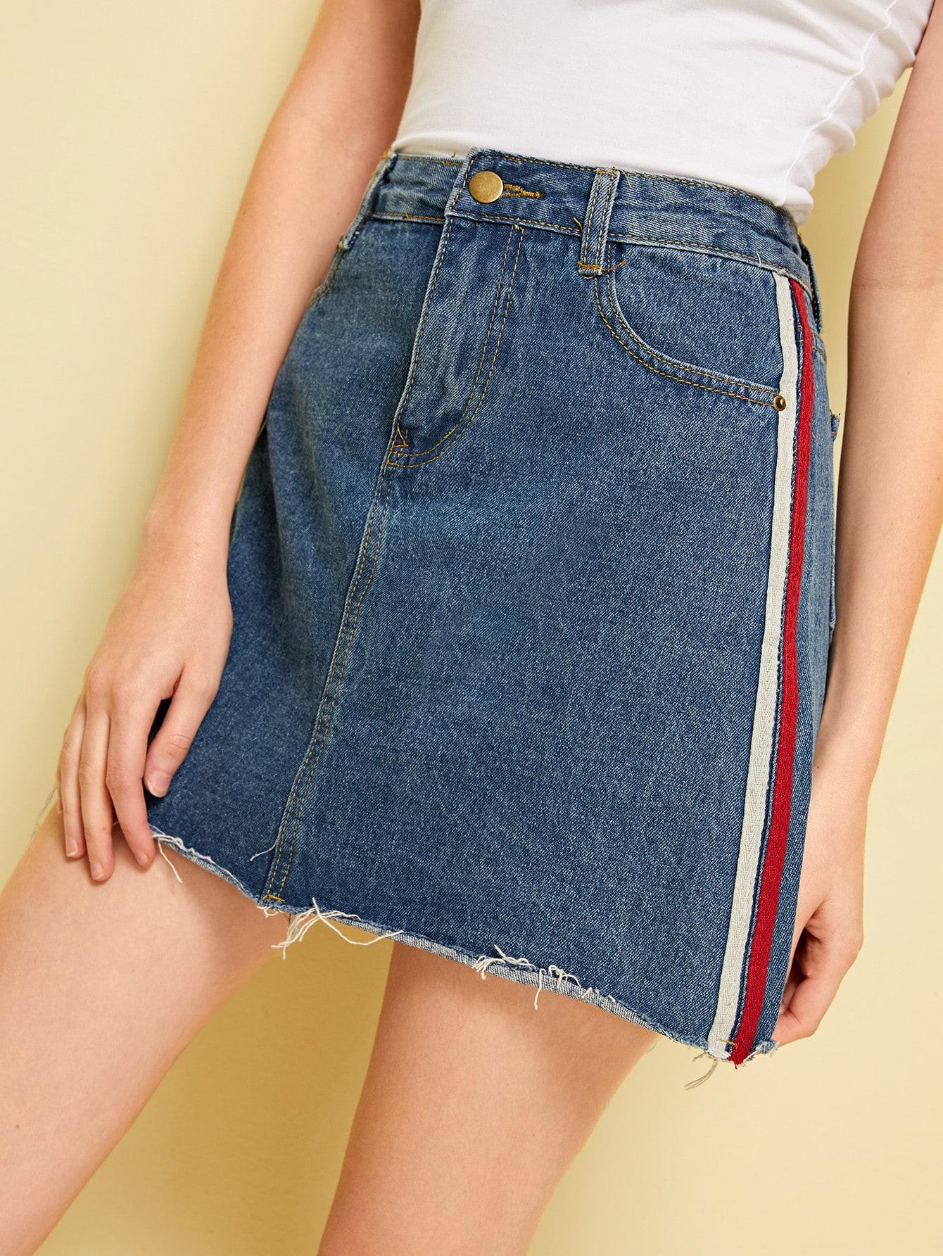 Фото - институтский Синий Джинсовые юбки от SheIn синего цвета