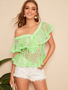 Button Front Ruffle Trim Guipure Lace Top Without Bra