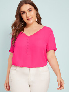 Plus Neon Pink Button Detail Cuffed Sleeve Top
